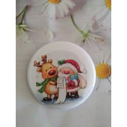 Chapa o Imán Papá Noel y Reno